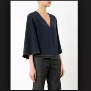 NWT Derek Lam Silk 3/4 Flared Sleeve V Neck Blouse